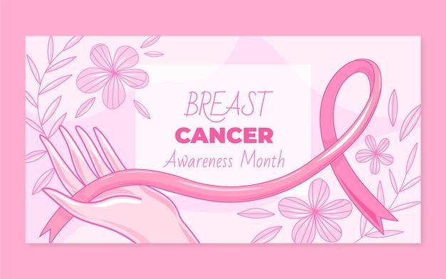 Modèle de publication sur les médias sociaux du mois de sensibilisation au cancer du sein dessiné à la main