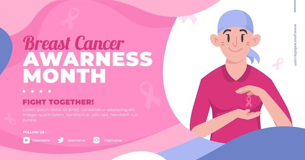 Modèle de publication sur les médias sociaux du mois de sensibilisation au cancer du sein plat dessiné à la main