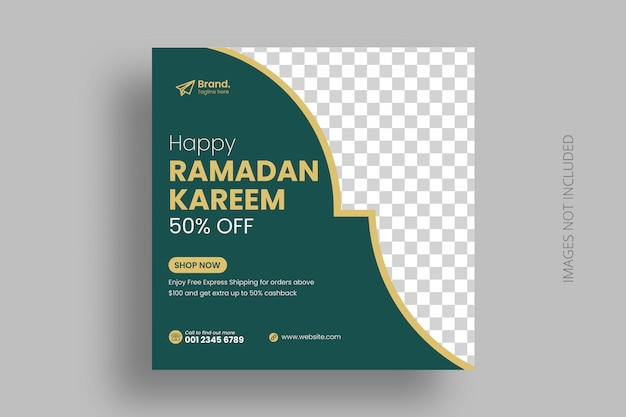 Modèle de publication de médias sociaux du ramadan flyer carré
