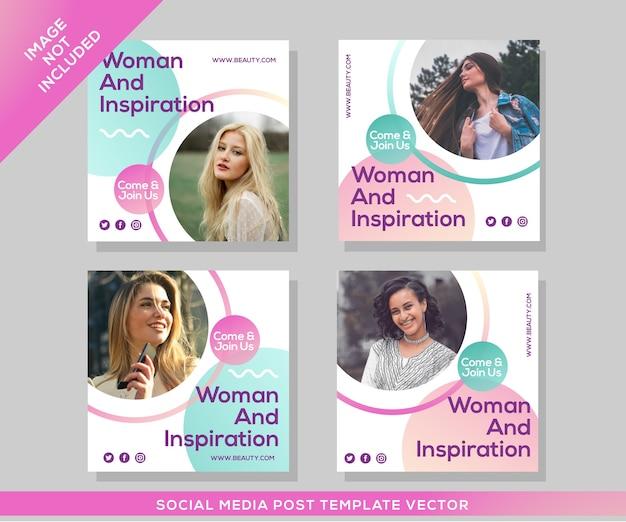 Modèle de publication de médias sociaux événement femme et inspiration