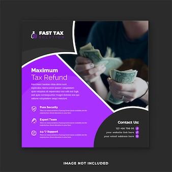 Modèle de publication sur les médias sociaux d'un expert en services fiscaux et bannière web