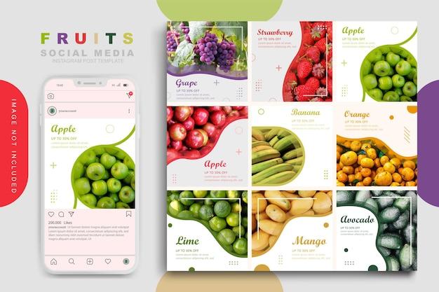 Modèle De Publication Sur Les Médias Sociaux De Fruits Vecteur Premium
