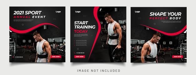 Modèle de publication sur les médias sociaux gym fitness