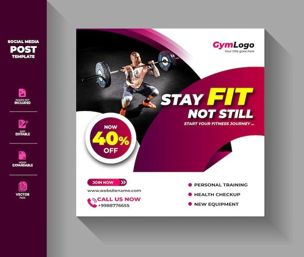 Modèle de publication de médias sociaux de gym fitness