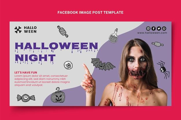 Modèle de publication de médias sociaux halloween dessiné à la main