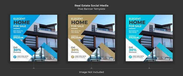 Modèle de publication de médias sociaux immobiliers modèle de publication modifiable bannières de médias sociaux