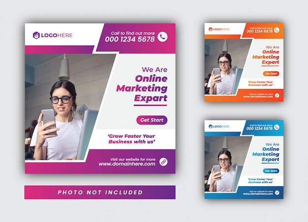 Modèle de publication sur les médias sociaux et instagram de l'agence de marketing en ligne