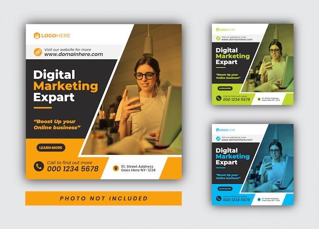 Modèle de publication sur les médias sociaux et instagram pour l'agence de marketing numérique