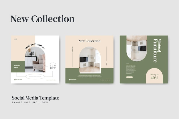 Modèle de publication sur les médias sociaux instagram de vente de meubles simple