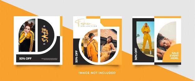 Modèle de publication de médias sociaux jaune minimaliste