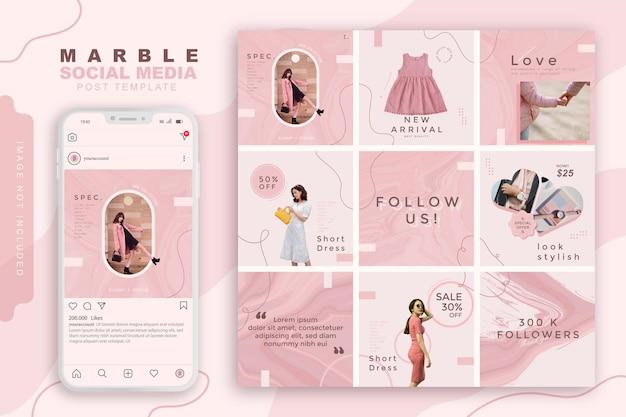 Modèle De Publication De Médias Sociaux En Marbre Mode Rose Féminin Vecteur Premium
