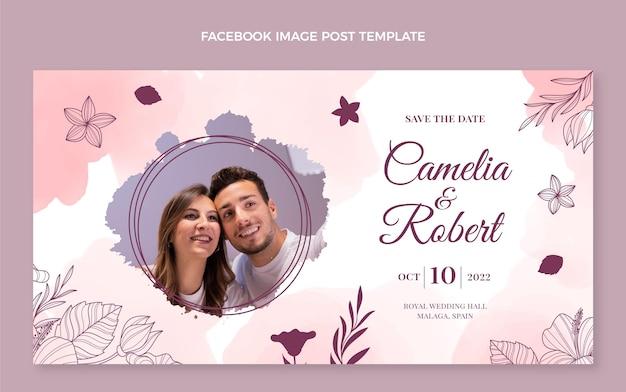 Modèle de publication de médias sociaux de mariage aquarelle dessinés à la main