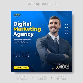 Modèle de publication de médias sociaux de marketing d'entreprise numérique vecteur premium