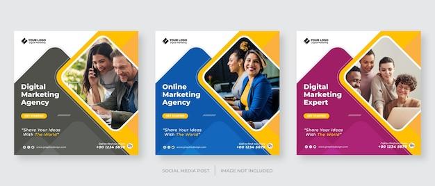 Modèle de publication sur les médias sociaux de marketing d'entreprise numérique