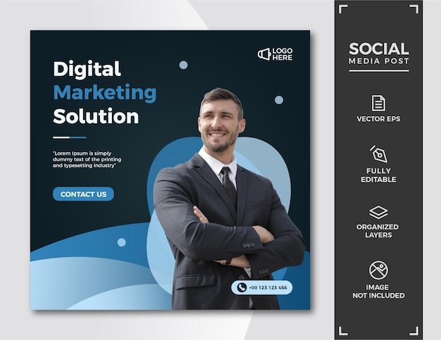 Modèle de publication de médias sociaux de marketing numérique.