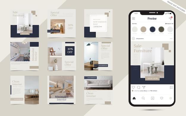 Modèle de publication de médias sociaux de meubles modernes minimalistes