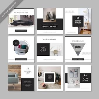 Modèle de publication de médias sociaux sur les meubles