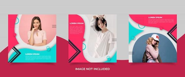 Modèle de publication de médias sociaux minimaliste avec style memphis