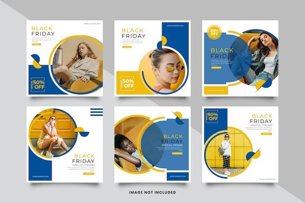Modèle de publication de médias sociaux minimaliste de vente vendredi noir