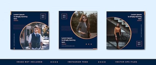 Modèle de publication de médias sociaux de mode ou collection de bannières carrées