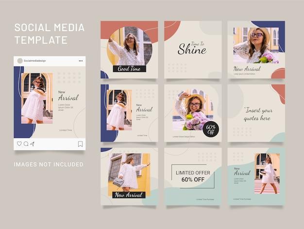 Modèle de publication sur les médias sociaux mode femmes puzzle