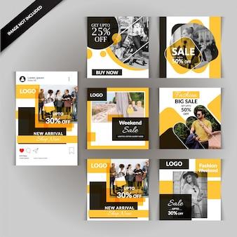 Modèle de publication de médias sociaux de mode jaune
