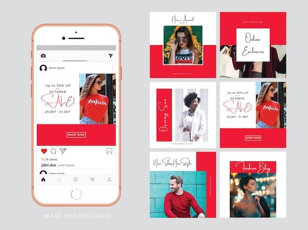 Modèle de publication de médias sociaux mode rouge