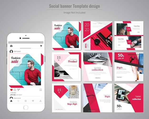 Modèle de publication de médias sociaux de mode rouge
