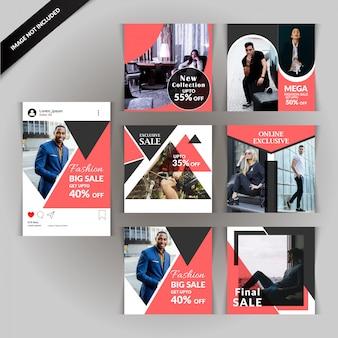 Modèle de publication de médias sociaux mode et vente
