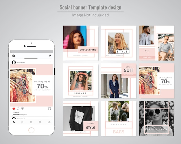 Modèle de publication de médias sociaux de mode