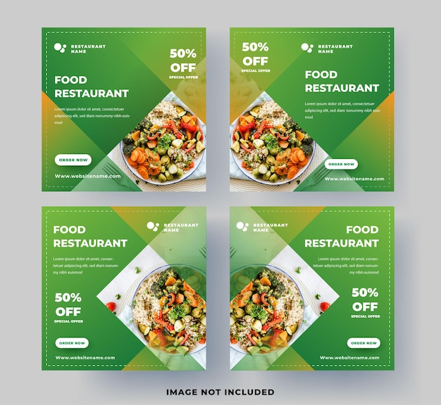 Modèle de publication de médias sociaux modernes. restaurant de nourriture avec vert frais