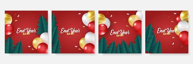 Modèle de publication sur les médias sociaux de noël d'hiver. modèle de carte avec ballon, bonhomme de neige, cadeau, neige et palmier. utilisable pour les médias sociaux, les bannières et les publicités internet.