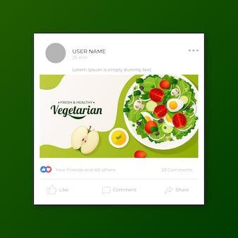 Modèle de publication sur les médias sociaux de la nourriture végétarienne dégradée