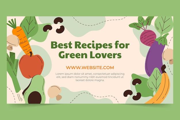 Modèle de publication de médias sociaux de nourriture végétarienne plate dessinée à la main