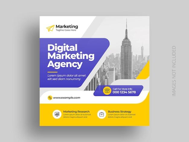 Modèle de publication de médias sociaux pour agence de marketing d'entreprise numérique
