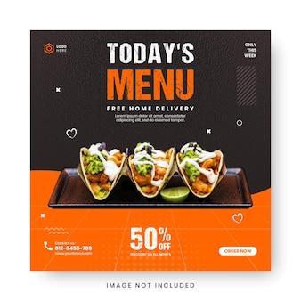 Modèle de publication de médias sociaux pour le cadre de bannière de promotion de menu alimentaire