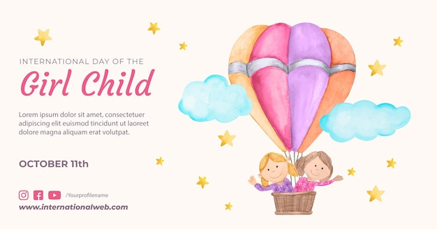 Modèle de publication sur les médias sociaux pour la journée internationale de l'aquarelle de la petite fille
