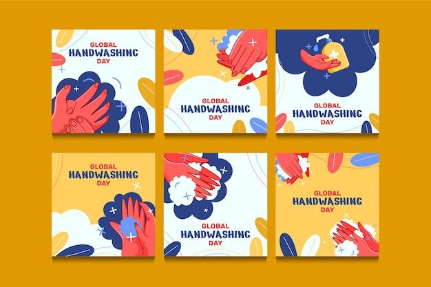Modèle de publication sur les médias sociaux pour la journée mondiale du lavage des mains à plat dessiné à la main