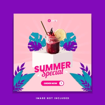 Modèle de publication de médias sociaux pour le menu des boissons spéciales d'été