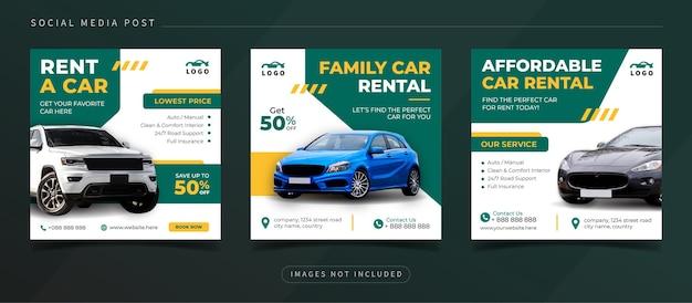 Modèle de publication sur les médias sociaux pour la promotion de la location de voitures