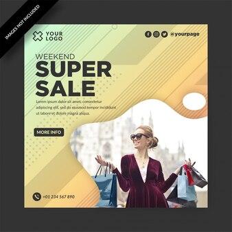 Modèle de publication sur les médias sociaux pour la promotion de la super vente du week-end moderne