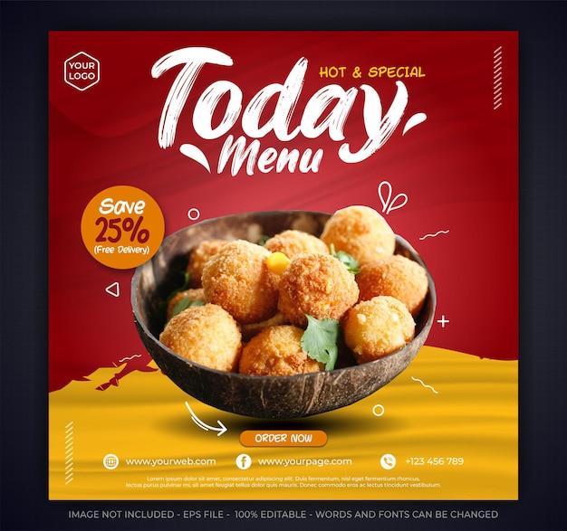 Modèle de publication sur les médias sociaux pour un restaurant ou un menu alimentaire