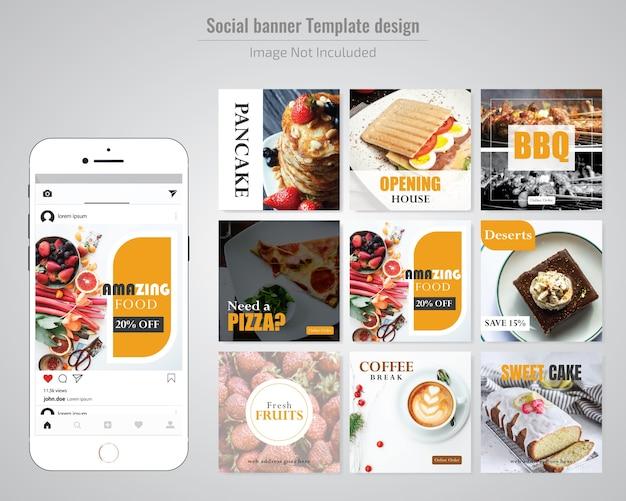Modèle de publication de médias sociaux pour le restaurant