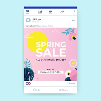 Modèle de publication de médias sociaux printemps floral créatif