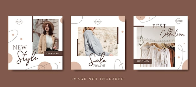 Modèle de publication sur les médias sociaux de promotion de vente de mode