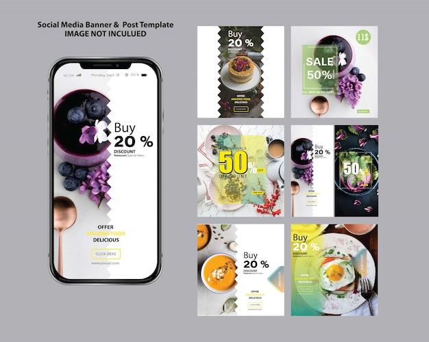 Modèle de publication de médias sociaux de restaurant