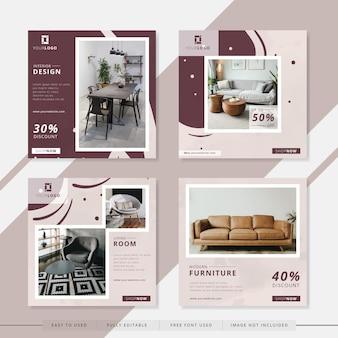 Modèle de publication de médias sociaux de salon de meubles