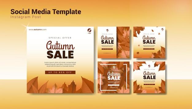Modèle de publication de médias sociaux de vente d'automne
