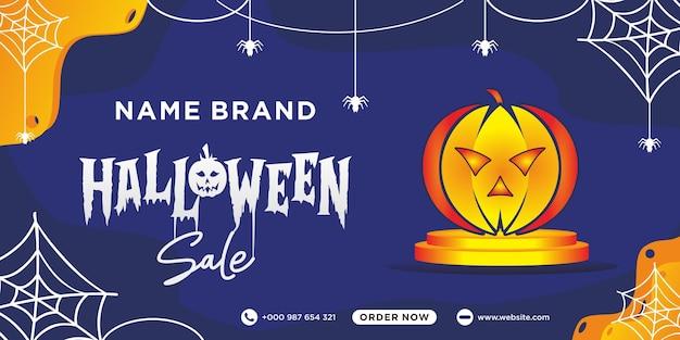 Modèle de publication sur les médias sociaux de vente d'halloween vecteur premium