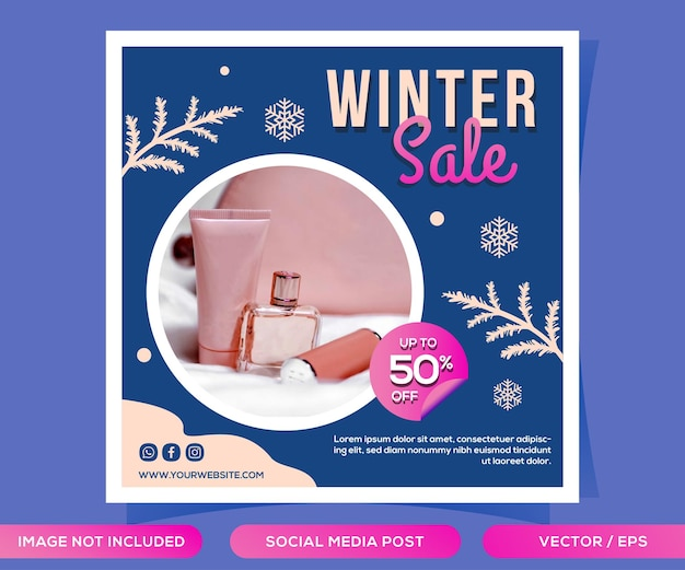 Modèle de publication sur les médias sociaux de vente d'hiver